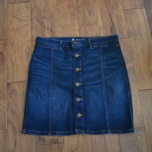 Reitmans R Jeans Dark Denim Jean Button Skirt